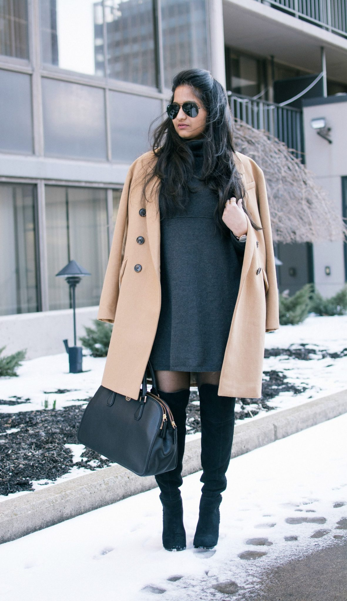 grey-sweater-dress-and-camel-coat