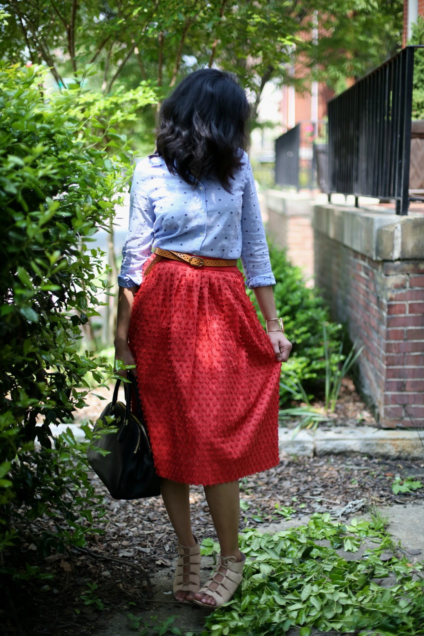 red-midi-skirt-violet-shirt