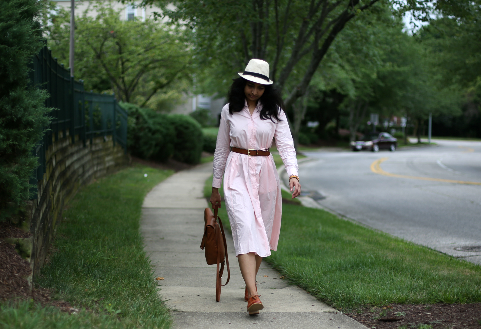 pink-shirt-dress-with-a-belt