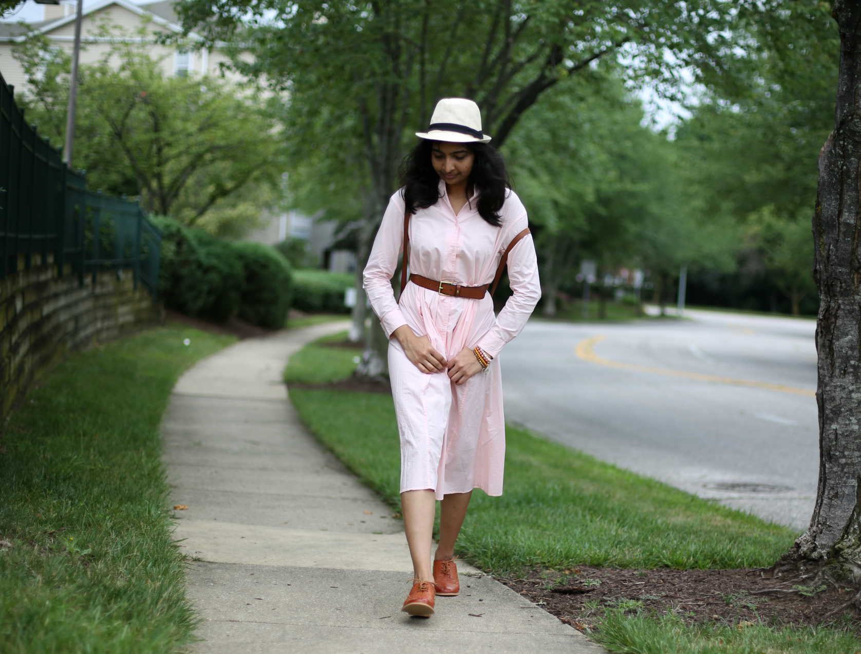 shirt-dress-with-a-belt-and-oxfords