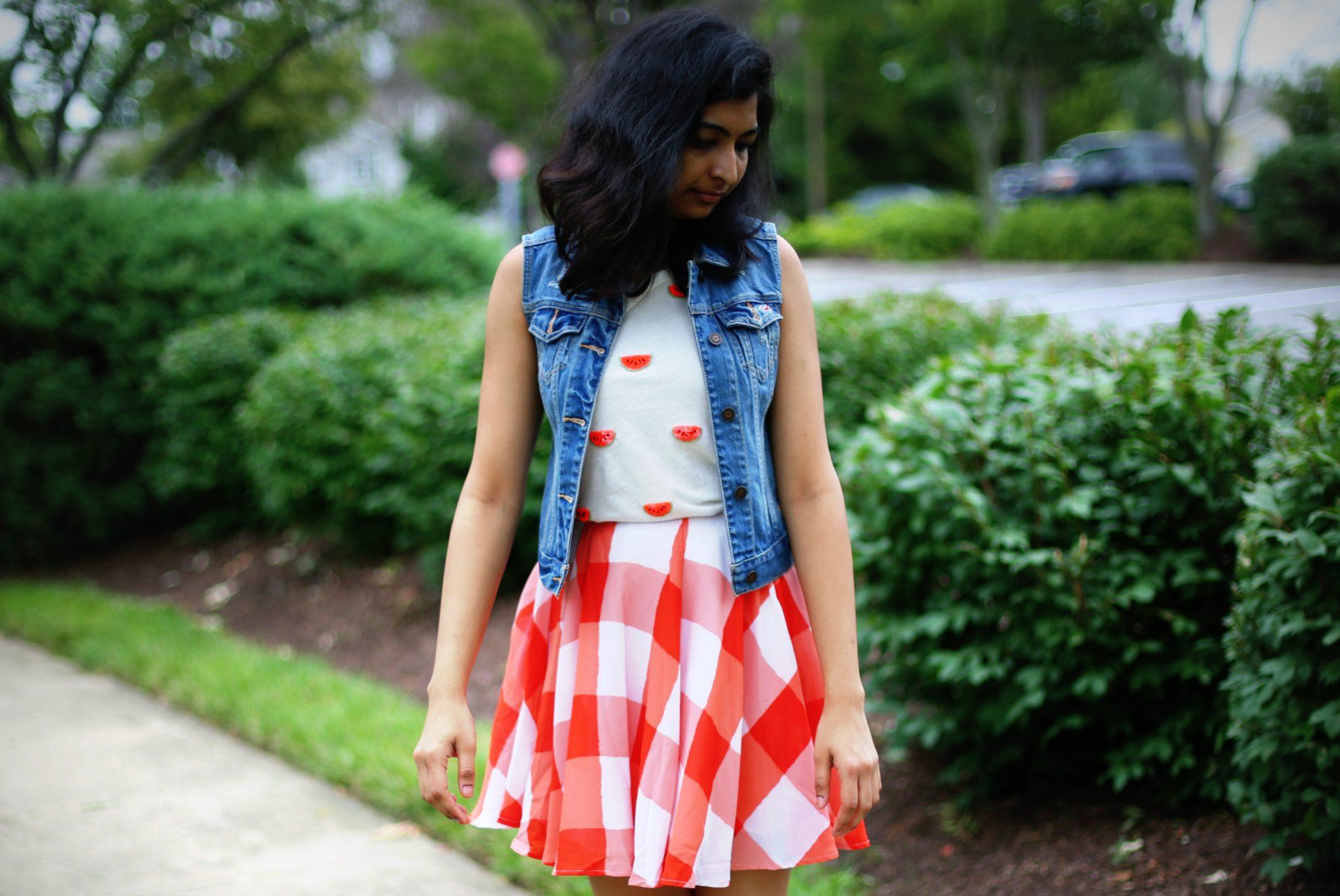 gingham-skirt-sequin-t-shirt