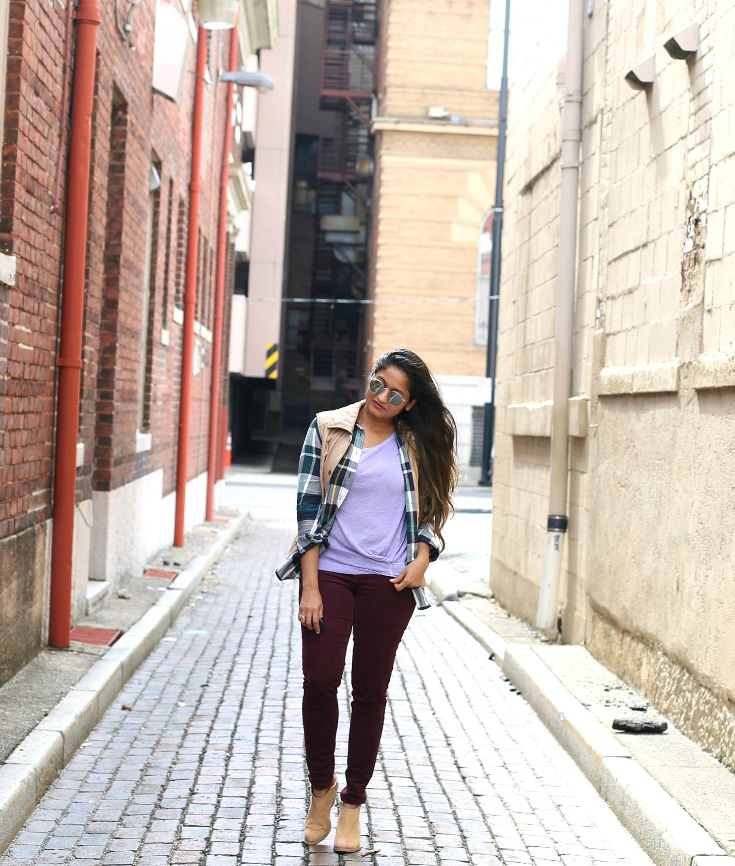 burgundy-purple-green-khaki-fall-outfit