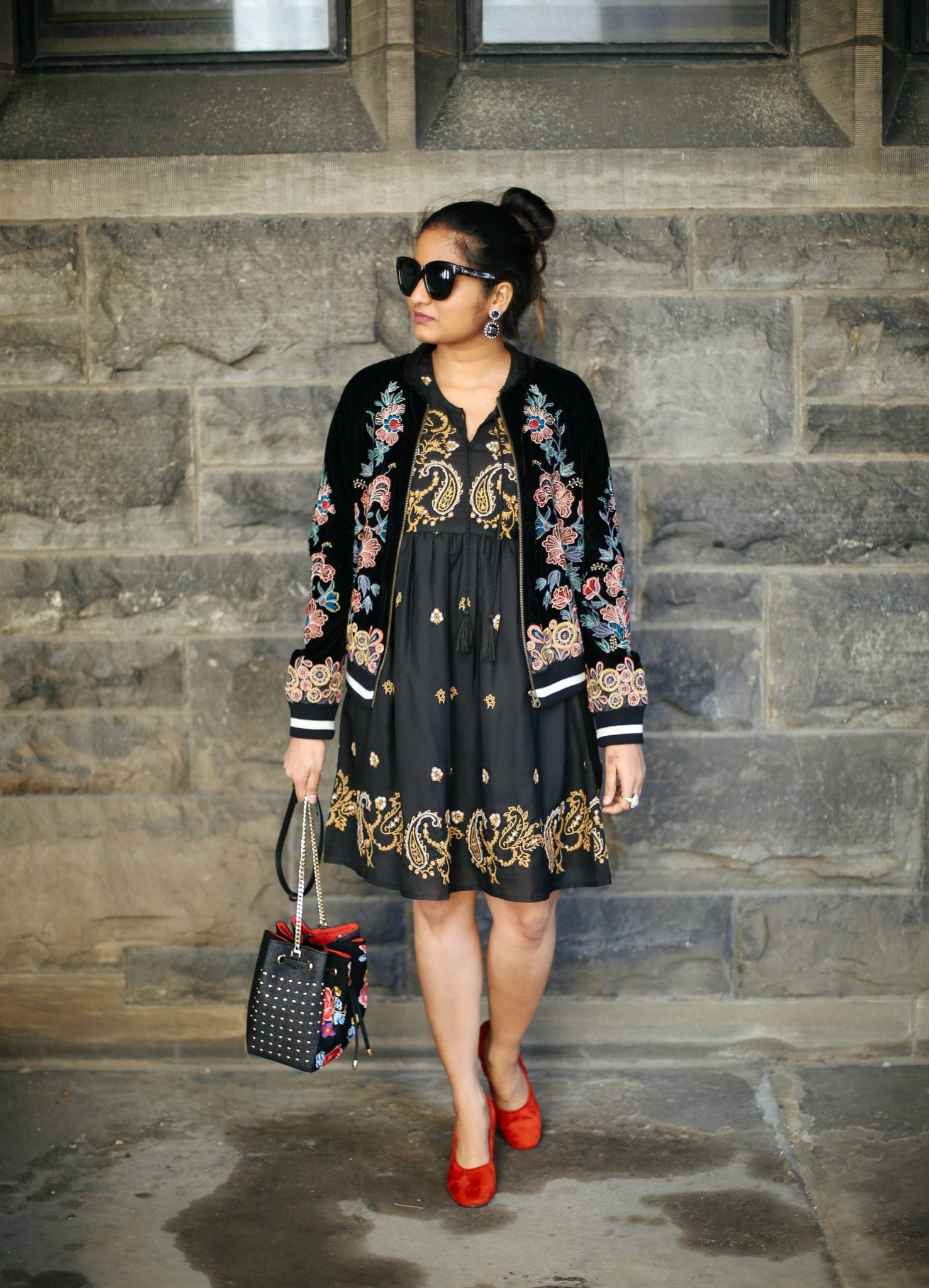Glamorous-Long-Sleeved-Skater-Dress-With-Baroque-Embroidery-dress