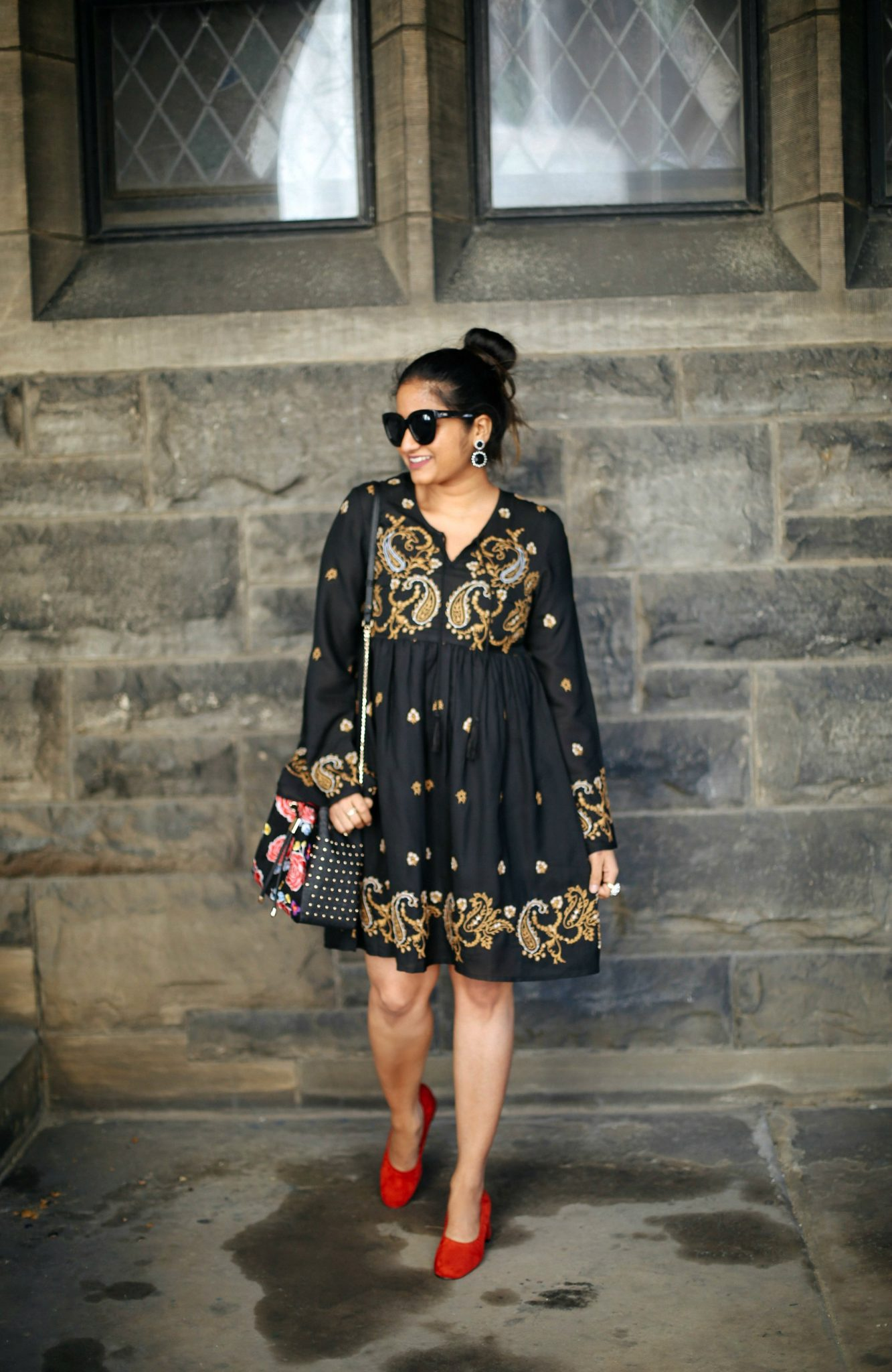 asos-Glamorous-Long Sleeved-Skater Dress-With Baroque- Embroidery