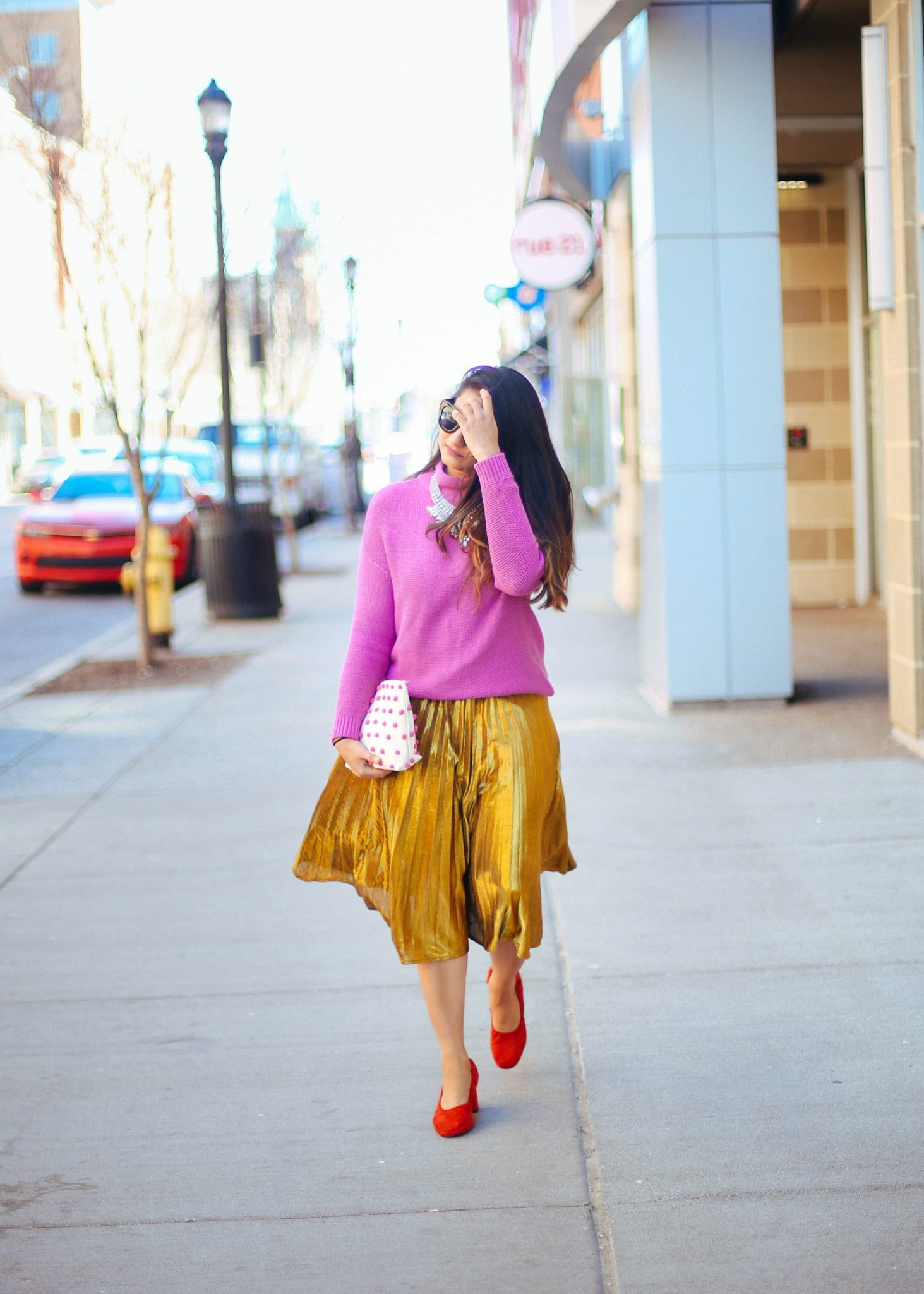 shein-Yellow-Pleated-A-Line-Midi-Skirt