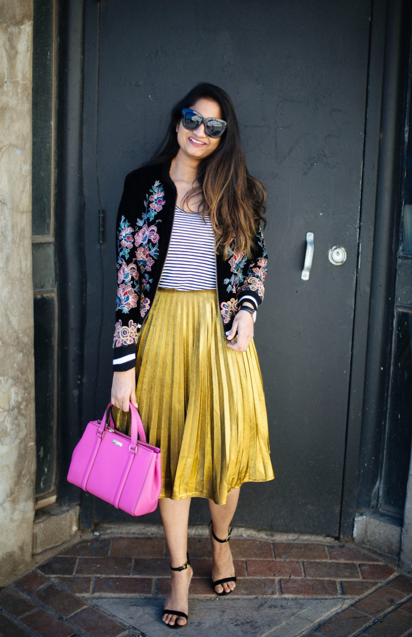 shein-a-line-pleated-skirt-yellow