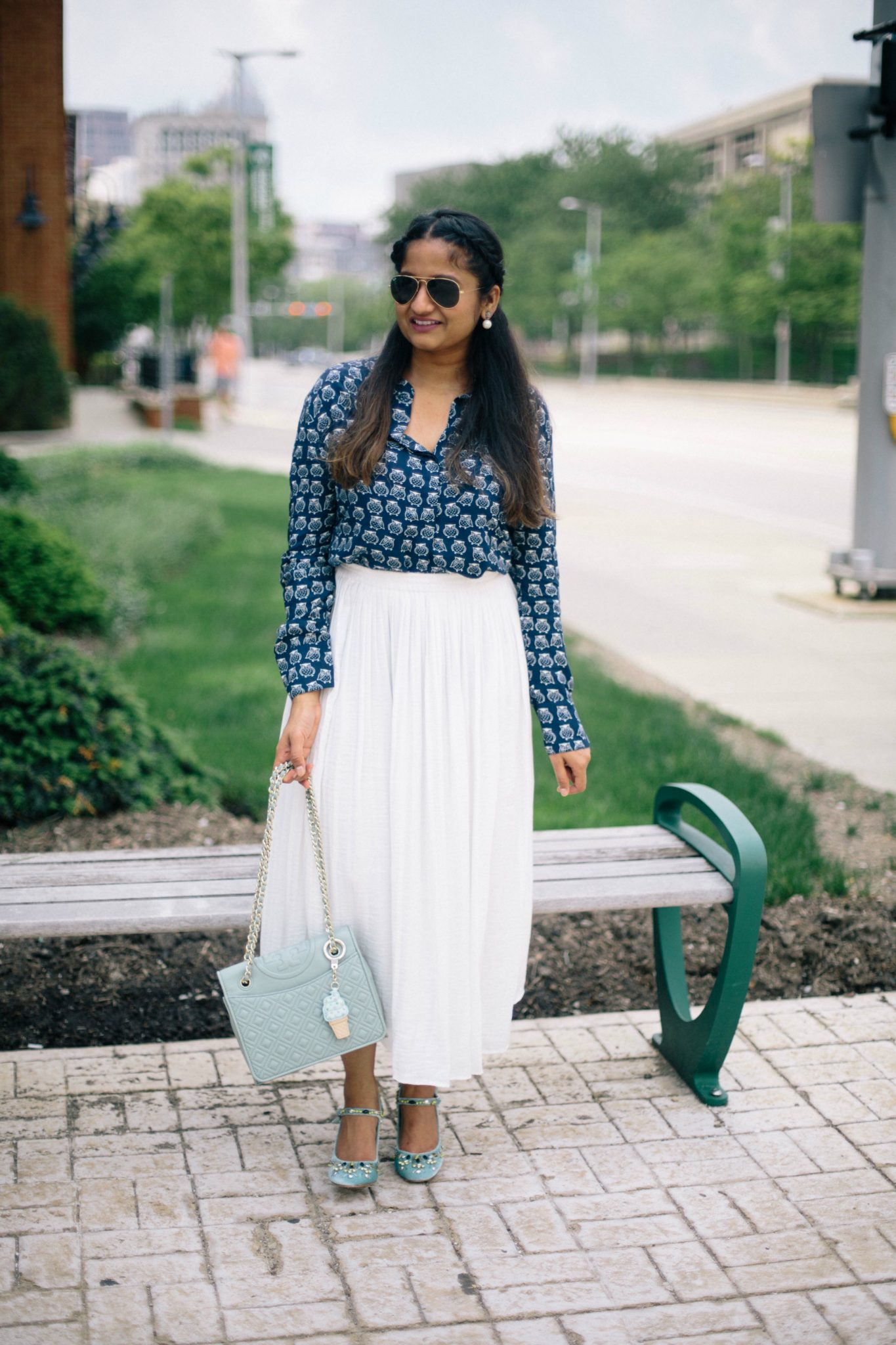 white-pleated-skirt-owl-blouse